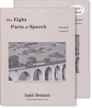 Grades 6-8 (Level 2) The Eight Parts of Speech English Worksheets Set