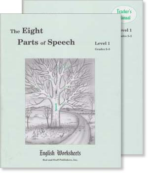 Grades 3-5 (Level 1) The Eight Parts of Speech English Worksheets Set