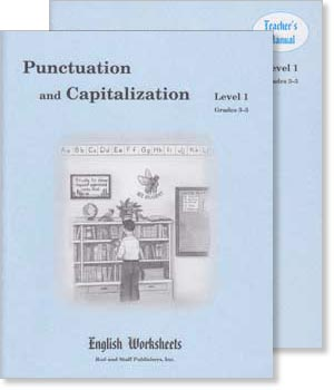 Grades 3-5 (Level 1) Punctuation and Capitalization English Worksheets Set