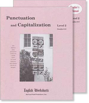 Grades 6-8 (Level 2) Punctuation and Capitalization English Worksheets Set