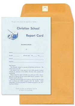 Christian School Report Card and Envelope - Set
