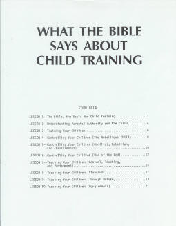 What the Bible Says About Child Training - Study Guide