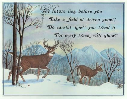 """The Future"" - Two Deer - Laminated Motto"