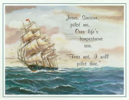 """Jesus, Saviour, Pilot Me"" - Ship at Sea - Laminated Motto"