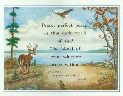 """Peace"" - Fall Nature Scene - Laminated Motto"
