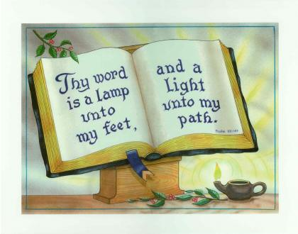 Psalm 119:105 - Open Bible - Laminated Motto