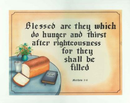 Matthew 5:6 - Food and Bible - Laminated Motto