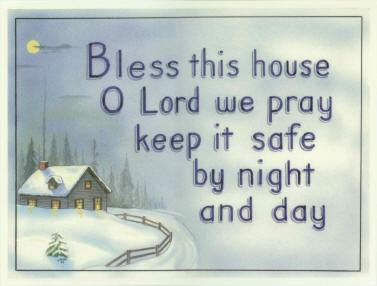 """Bless This House"" - Winter Scene - Laminated Motto"